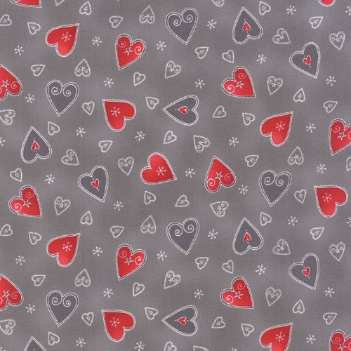 Moda - JOL, Hearts - Grey / Red Christmas Patchwork Fabric